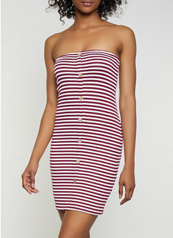 Striped Rib Knit Mini Tube Dress - 0094054261140