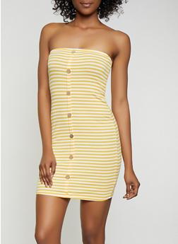 Striped Rib Knit Mini Tube Dress - 0094054261140