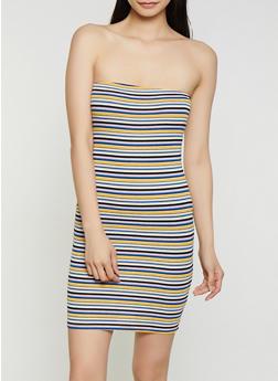 Striped Rib Knit Tube Dress | 0094054261296 - 0094054261296