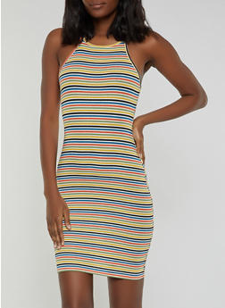 Rib Knit Striped Tank Dress - 0094054263145