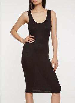 Rib Knit Midi Tank Dress - BLACK - 0094054266277