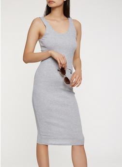 Rib Knit Midi Tank Dress - 0094054266277