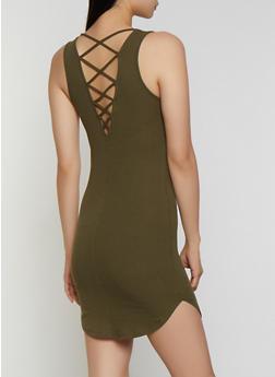 Rib Knit Caged Back Tank Dress - 0094054267362