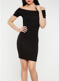 Off the Shoulder Rib Knit Dress - BLACK - 0094054268653