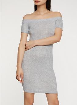 Off the Shoulder Rib Knit Dress - 0094054268653