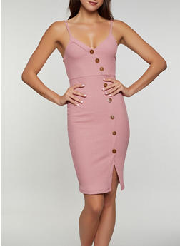 Rib Knit Button Detail Bodycon Cami Dress - 0094058750019