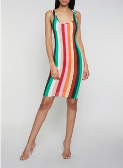 Vertical Stripe Midi Cami Dress - 0094058750080