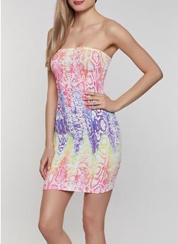 Multi Color Snake Print Tube Dress - 0094058750126