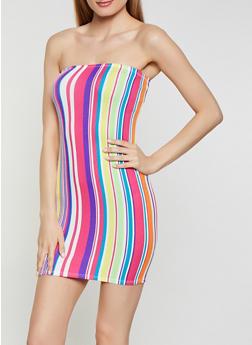 Neon Striped Mini Tube Dress - 0094058750128