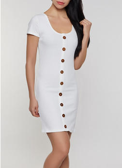 Button Detail Rib Knit Bodycon Dress - 0094058750523