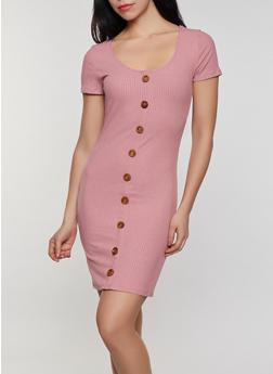 Button Detail Rib Knit Bodycon Dress - 0094058750523