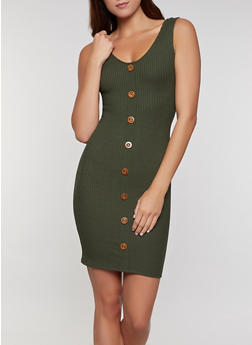 Ribbed Button Front Tank Dress - 0094058750524