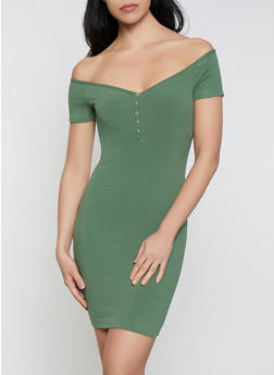 Off the Shoulder Mini Bodycon Dress - 0094058750525