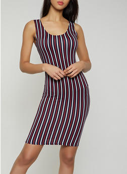 Vertical Stripe Soft Knit Bodycon Dress - 0094058750532