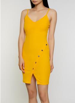 Asymmetrical Button Detail Ribbed Knit Dress - 0094058750692