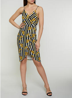 Status Print Button Faux Wrap Dress - 0094058750733