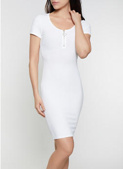 Zip Neck Ribbed Knit T Shirt Dress - 0094058750737