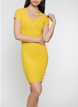 Zip Neck Ribbed Knit T Shirt Dress - 0094058750737