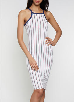 Striped Contrast Trim High Neck Tank Dress - 0094058750738