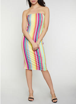 Shirred Side Striped Tube Dress - 0094058750747