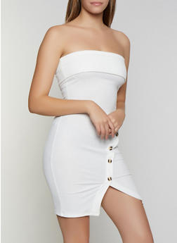 Ribbed Button Detail Tube Dress - 0094058751121