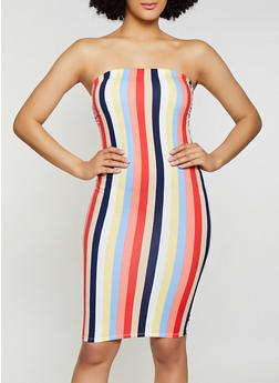 Vertical Stripe Tube Dress - 0094058751747