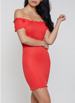 Lettuce Edge Off the Shoulder Bodycon Dress - 0094058752210