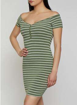 Striped Rib Knit T Shirt Dress - 0094058752214