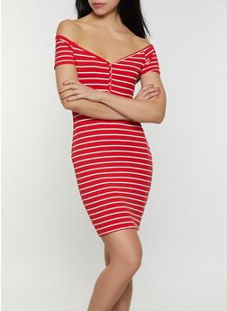 Striped Rib Knit T Shirt Dress - 0094058752214