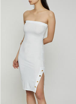 Side Slit Ribbed Knit Tube Dress - 0094058752215