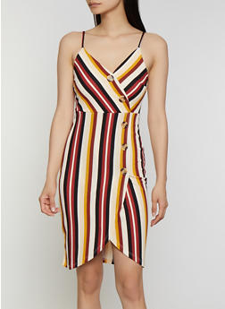 Striped Sleeveless Faux Wrap Dress - 0094058752733