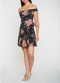 Floral Textured Knit Off the Shoulder Dress - 0094058753907