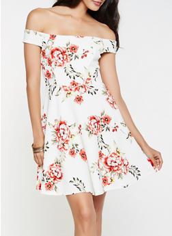 Floral Textured Knit Off the Shoulder Dress - 0094058753908