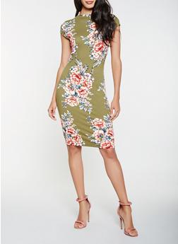 Floral Bodycon Dress - 0094058753919