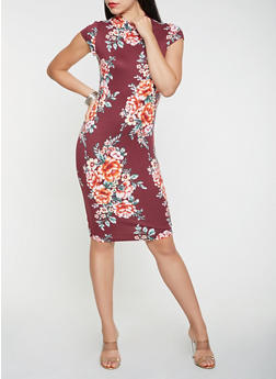 Floral Bodycon Dress - 0094058753919