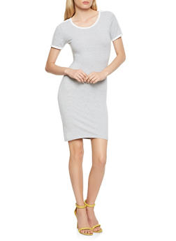 Contrast Trim T Shirt Dress - 0094061639664