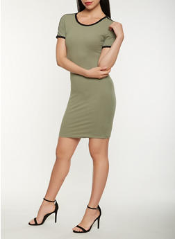 Contrast Trim T Shirt Dress - 0094061639664 a3e0e306f