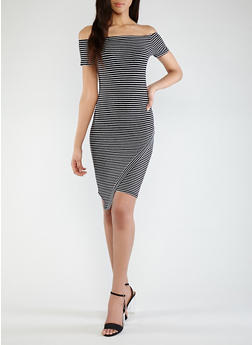 Striped Off the Shoulder Dress - 0094061639665
