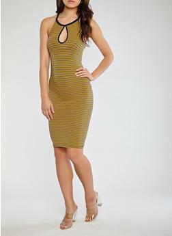 Striped Keyhole Bodycon Dress - 0094061639666