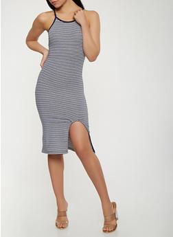 Striped Front Slit Tank Dress - 0094061639669
