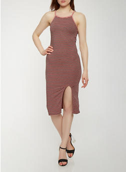 Striped Front Slit Tank Dress - 0094061639669