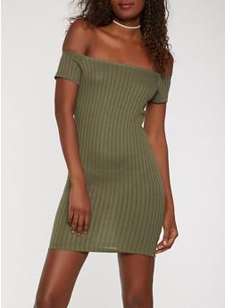 Ribbed Knit Off the Shoulder Dress - 0094061639670