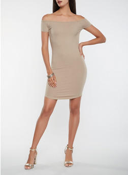 Solid Off the Shoulder Bodycon Dress - 0094061639671