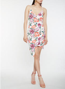 Floral Faux Wrap Bodycon Dress - 0094061639673
