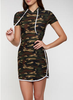 Varsity Stripe Hooded Camo Dress - 0094061639738