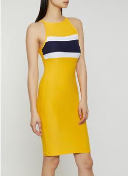 High Neck Striped Detail Midi Dress - 0094061639744