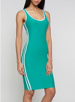 Contrast Trim Soft Knit Tank Dress - 0094061639745