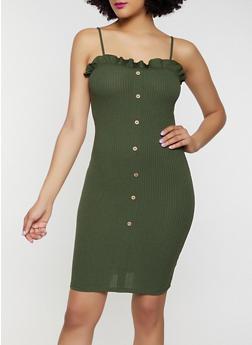 Rib Knit Lettuce Edge Bodycon Dress - 0094061639763
