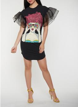 Pop Art Graphic Tiered Sleeve T Shirt Dress - 0094062124018