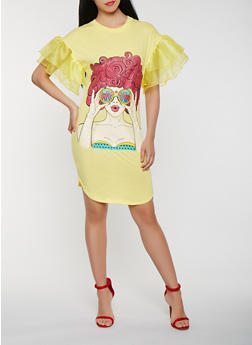 Pop Art Graphic Tiered Sleeve T Shirt Dress - 0094062124018